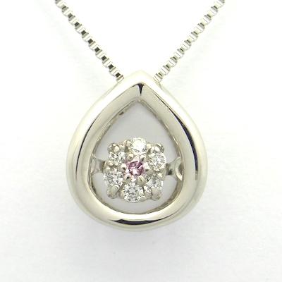 ダンシングストーン ピンクダイヤモンド0.01ct×ダイヤモンド0.03ct×PT900 ピンクダイヤモンド プラチナ ネックレス クロスフォー