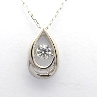 ダンシングストーン ダイヤモンド 揺れる 一粒 0.046ctUP カラーD クラリティSI2 カットEXH&C×K18WG ダイヤモンド ネックレス クロスフォー