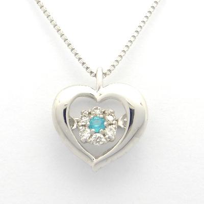 パライバトルマリン ダイヤモンド ホワイトゴールド オープンハートネックレス パライバトルマリン0.01ct×ダイヤモンド0.04ct×K18WG
