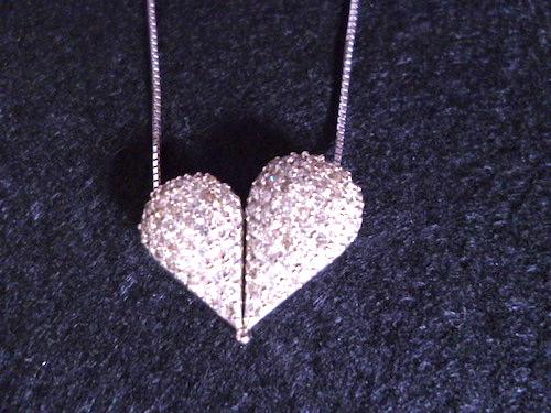 K18WGダイヤモンド合計1.00ctペンダント トップ変形可能2WAY ホワイトゴールドダイヤモンドハートネックレス