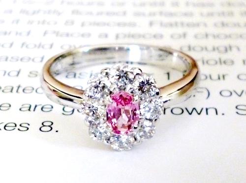 パパラチアサファイア0.29ct×ダイヤモンド×プラチナリング Padparadscha Sapphire