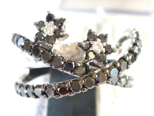 K18WG×ダイヤモンド合計0.03ct×ブラックダイヤ合計0.95ct ホワイトゴールド ダイヤモンド×ブラックダイヤモンド レディース 指輪(リング)