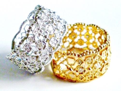 ダイヤモンド合計0.35ct K18 PGピンクゴールド / YGイエローゴールド / WGホワイトゴールド 繊細金細工リング