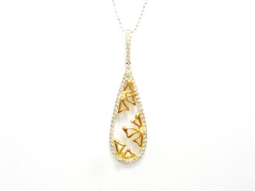 K18PG×K18WG×ダイヤモンド合計0.30ct ゴールド×ホワイトゴールドダイヤモンドネックレス レディースジュエリー・アクセサリー ネックレス・ペンダント ゴールド・ダイヤモンド