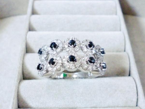 K18WG ダイヤモンド合計1.10ct×ブラックダイヤモンド0.40ct ホワイトゴールド ブラックダイヤモンド リング レディース リング 指輪