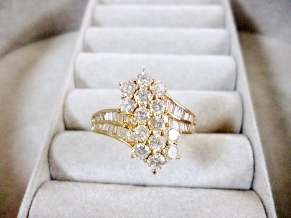 K18YGイエローゴールド ダイヤモンド合計1.45ct ダイヤモンド イエローゴールド レディース 指輪(リング)