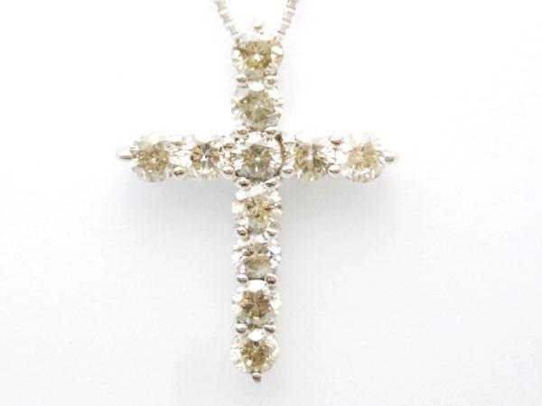 K18WG×ダイヤモンド1カラット クロスペンダント ダイヤモンドプラチナ クロスネックレス