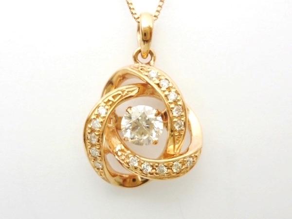 ダイヤモンド0.30ct×D0.10ct×K18PG ダイヤモンド ピンクゴールド ネックレス ダンシングストーン