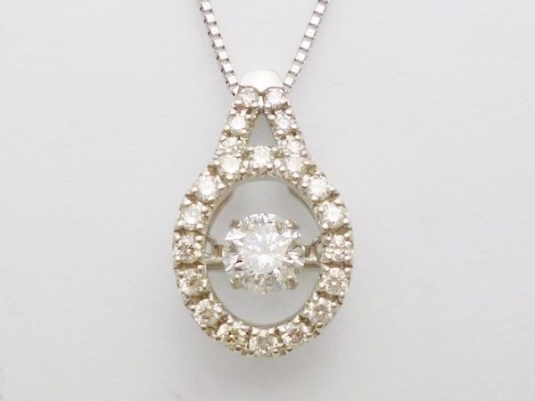 ダイヤモンド0.30ct×D0.23ct×K18WG ダンシングストーン ダイヤモンド 揺れる 一粒 ホワイトゴールドネックレス ダンシングストーン ペンダント トゥインクルセッティング