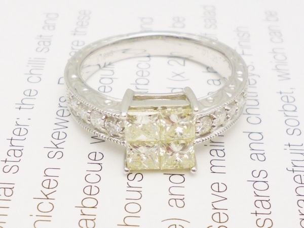 K18WG×ダイヤモンド1.25ct リング ダイヤモンドホワイトゴールドリング