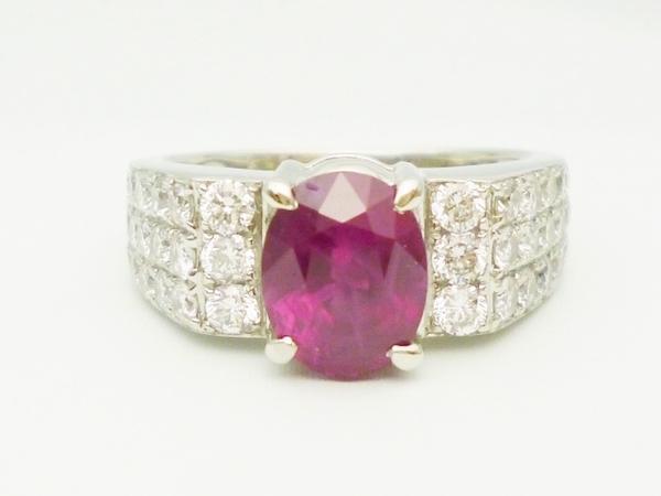 ルビープラチナリング ルビー2.06ct×ダイヤモンド1.00ct×Pt900 ルビープラチナリング 指輪