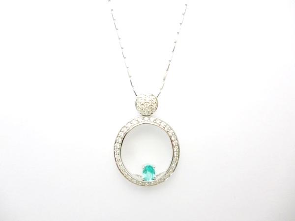 パライバトルマリンペンダントネックレス ダイヤモンド プラチナ パライバトルマリン0.16ct×ダイヤモンド0.26ct×K18WGネックレス