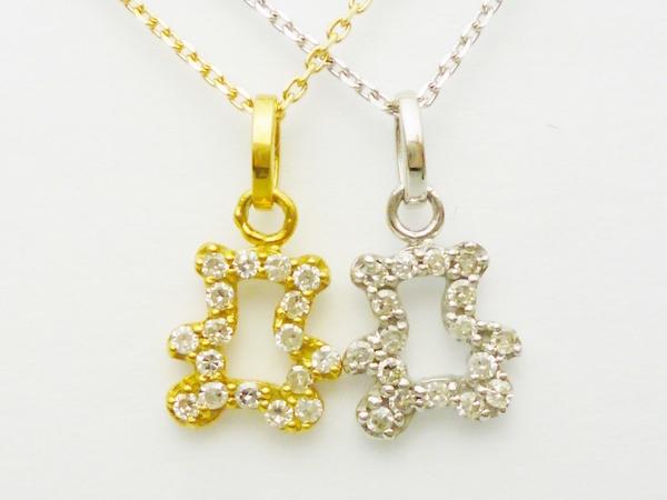 テディベアTeddyBearダイヤモンド ペンダントネックレス ダイヤモンド0.08ct×K18 イエローゴールドホワイトゴールド