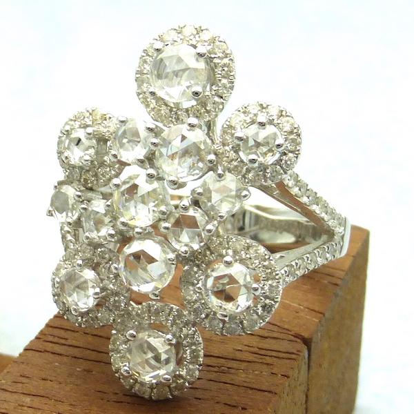ダイヤモンド合計0.50ct×1.41ctK18WG ホワイトゴールドリング