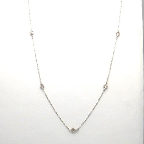ダイヤモンド合計0.15ct×K18WG ゴールドネックレス