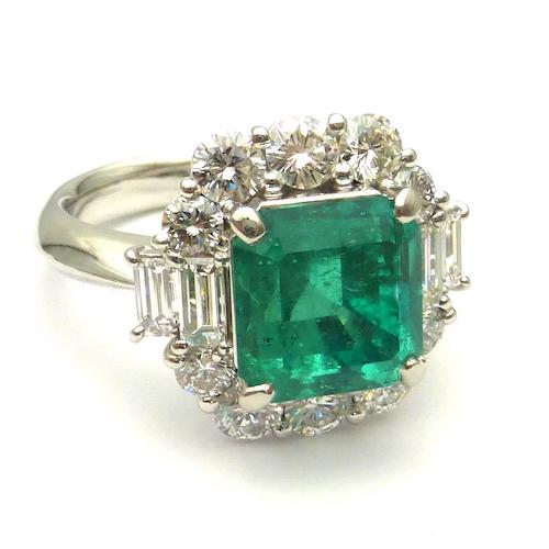 エメラルド3.52ct×ダイヤモンド1.50ct×Pt900 コロンビア産エメラルドプラチナリング