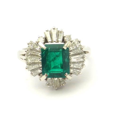 エメラルド1.30ct×ダイヤモンド1.08ct×Pt900 エメラルドプラチナリング