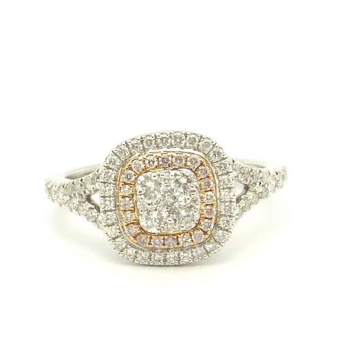 ダイヤモンド0.45ct×ピンクダイヤモンド0.07ct×Pt900 ダイヤモンド プラチナリング