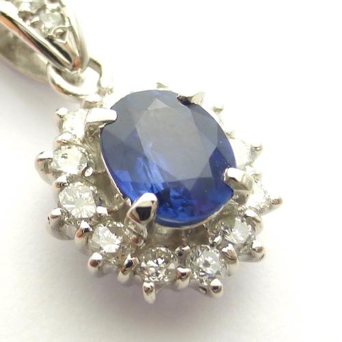 サファイア1.14ct ダイヤモンド0.50ct×PT900 サファイアダイヤモンドプラチナペンダント