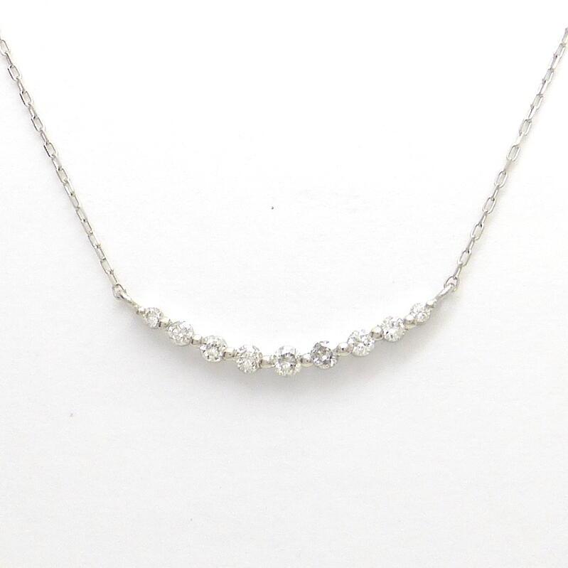 ホワイトゴールドイエローゴールドダイヤモンドネックレス K18WG ダイヤモンド合計0.300ct