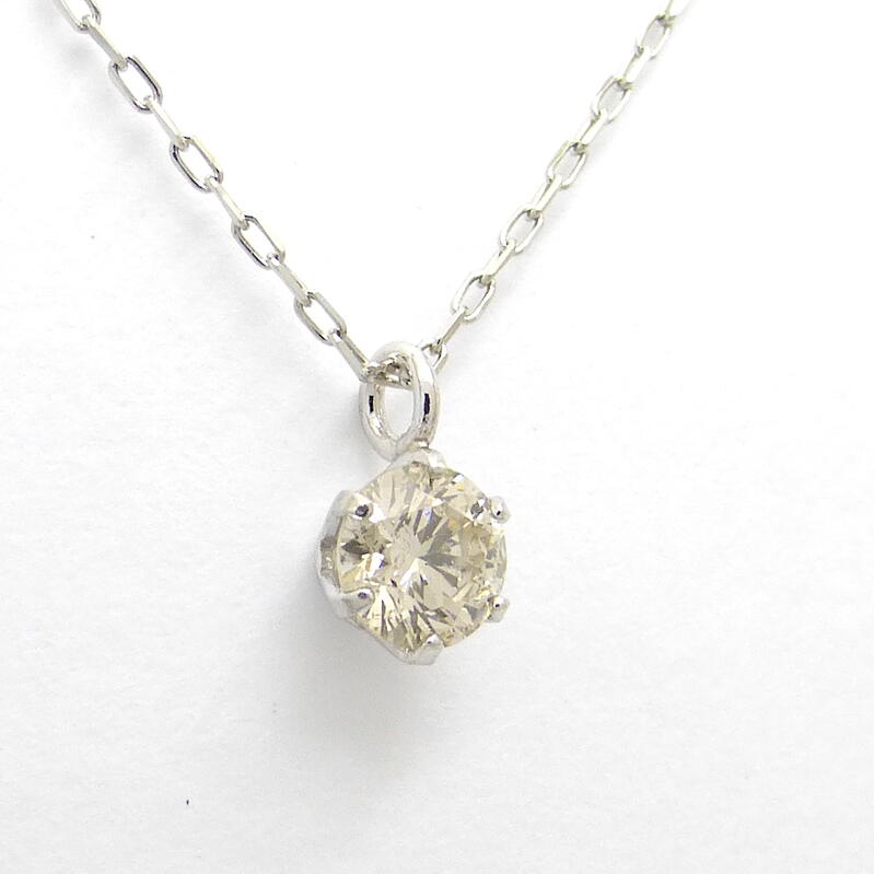 H&Cスタッズダイヤモンド ネックレス PT900 ダイヤモンド合計0.100ct 6本爪 一粒 おすすめ
