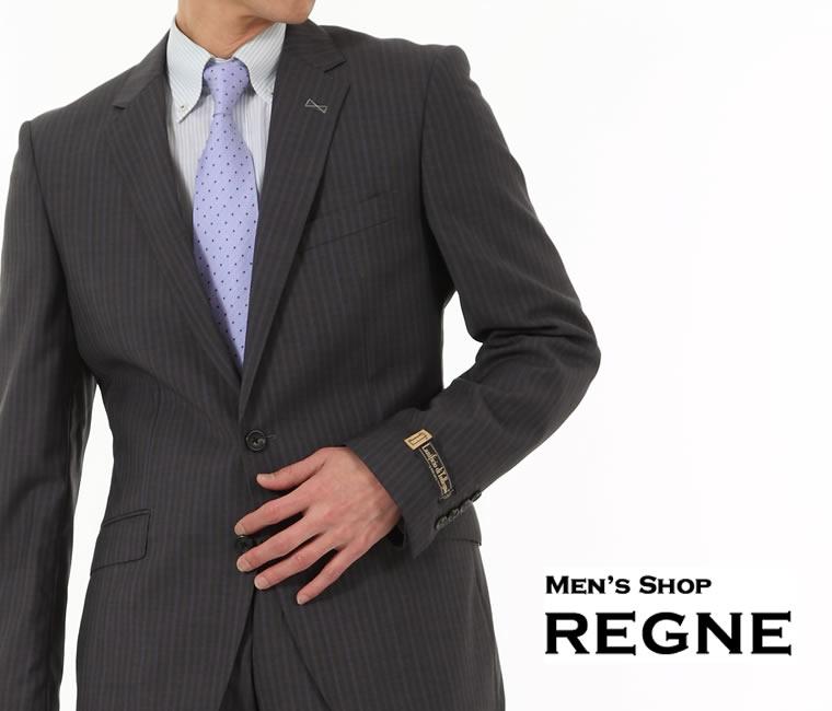 ビジネススーツ<伊 Lanificio di Tollegno>グレー 縞 【送料無料】シングル スーツ 2釦 細身 春夏 スリムスーツ グレー 上下 毛100% Suit