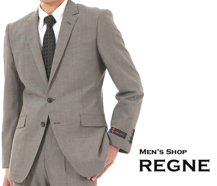スリムスーツ<イタリヤ Alfredo Rodina>グレー無地【送料無料】シングル スーツ 2釦 細身 スリムスーツ グレー 上下 毛100% Suit