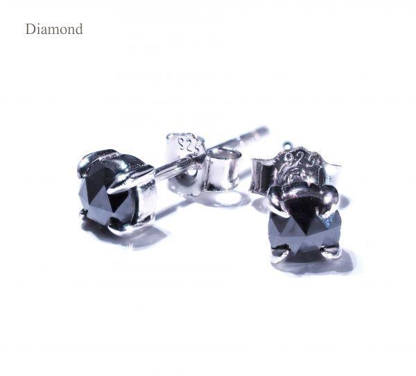 天然 ブラックダイヤモンド ピアス メンズ ピアス レディース ピアス ユニセックス ピアス SV925 アクセサリー 1粒 ジュエリー