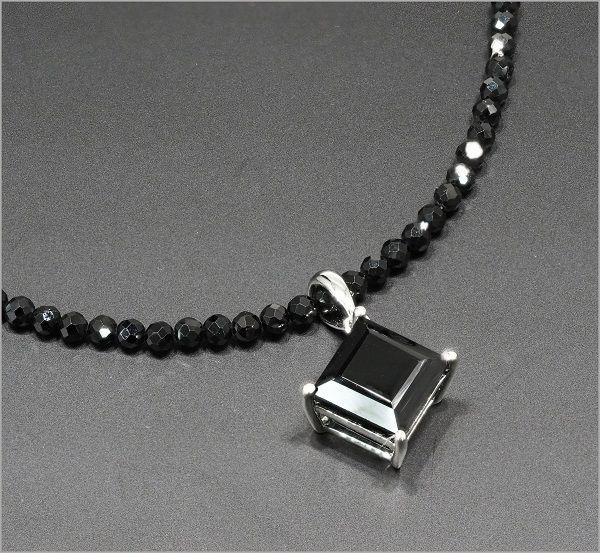 アクセサリー 天然 ブラックスピネル ネックレス 3.0ct メンズ ネックレス スピネルチェーン 大粒 パワーストーン アジャスター付き