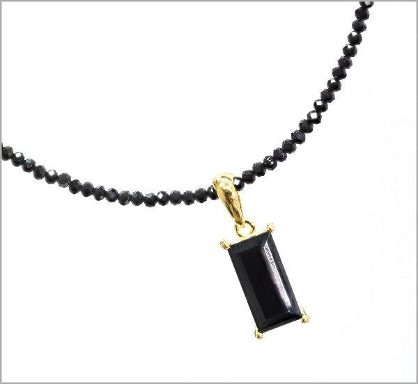 ゴールド ネックレス メンズ ネックレス 天然 ブラックスピネル ネックレス アクセサリー スピネルチェーン 大粒 パワーストーン アジャスター付き