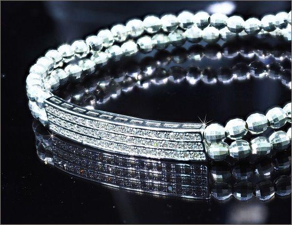 CZ ダイヤモンド ブレスレット メンズ ブレスレット レディース ブレスレット ユニセックス ブレスレット 2連 アクセサリー 【伸縮素材】
