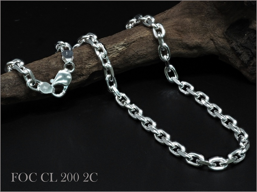 SV925 2面カット アズキチェーンネックレス 6.00mm 50cm No.FOC CL 200 2C