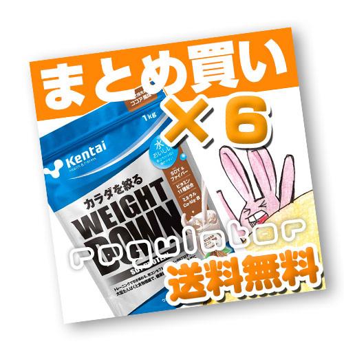 (まとめ買い)【Kentai】ウェイトダウン ソイプロテイン ココア風味 1kg×6(送料無料)【ケンタイ・健康体力研究所】