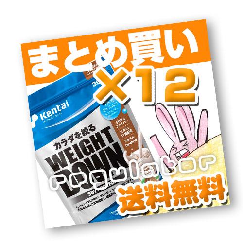 (まとめ買い)【Kentai】ウェイトダウン ソイプロテイン ココア風味 350g×12(送料無料)【ケンタイ・健康体力研究所】
