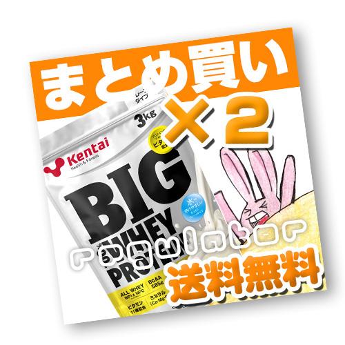 (まとめ買い)【Kentai】BIG ビッグ 100% ホエイプロテイン プレーンタイプ 3kg×2 (送料無料)【ケンタイ・健康体力研究所】