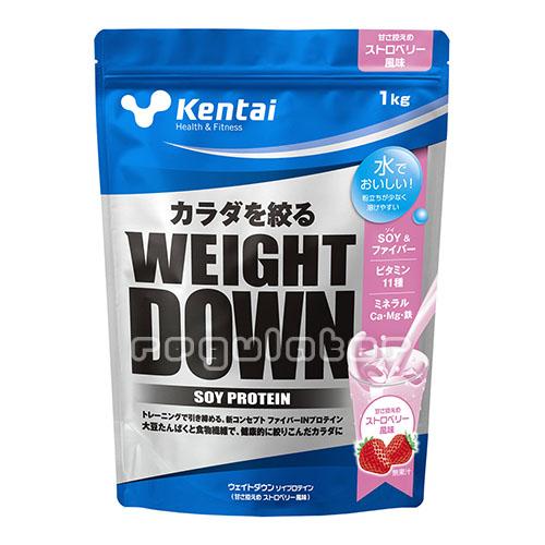 (まとめ買い)【Kentai】ウェイトダウン ソイプロテイン ストロベリー風味 1kg×6(送料無料)【ケンタイ・健康体力研究所】