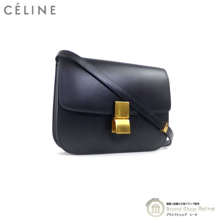 正規ブランド品 出色 当店なら安心でお値段も格安 大注目 セリーヌ CELINE CLASSIC BOX クラシックボックス ミディアム 中古 ブラック 18917 ショルダー バッグ 斜め掛け 旧ロゴ