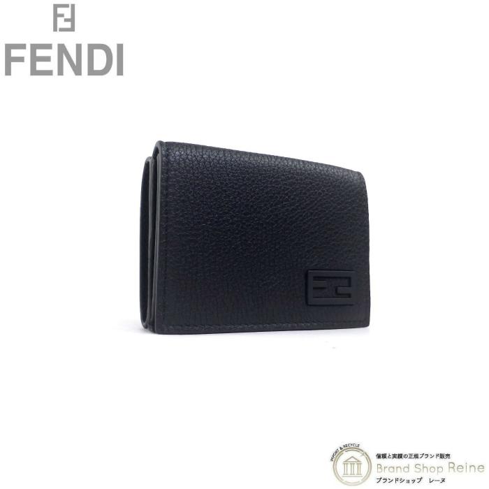 正規ブランド品 ファクトリーアウトレット 当店なら安心でお値段も格安 フェンディ FENDI トリフォールド ウォレット 三つ折り 7M0280 コンパクト 財布 ブラック 新品 受注生産品