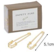 ●デザイン安全ピン●ボックス付62252(3) アンティーク風ピン~セーフティーピンL(ゴールド色)~手芸金具素材/1箱(12個入り)