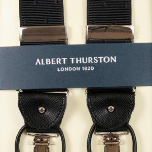 ALBERT THURSTON アルバートサーストン サスペンダー メンズ Y型 リボン(伸縮性なし) 黒ドット織柄 英国製 アルバート・サーストン ブランド ブレイシーズ 1016-27 送料無料