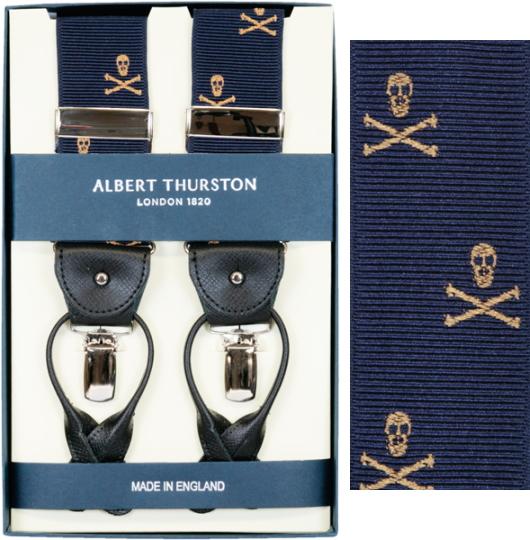 ALBERT THURSTON アルバートサーストン サスペンダーY型☆リボン(伸縮性なし)☆スカル柄【英国製】1143-4【送料無料】
