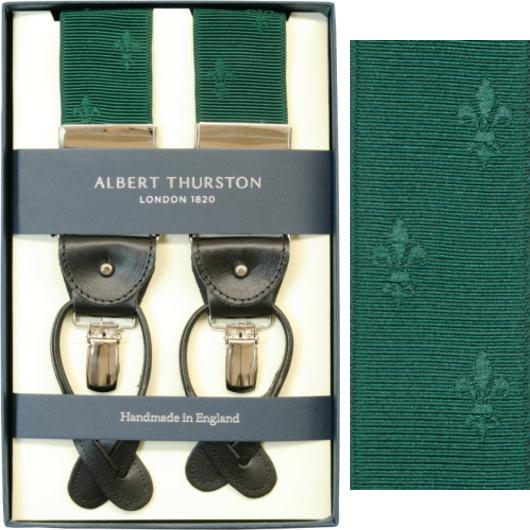 ALBERT THURSTON アルバートサーストン サスペンダー Y型 リボン(伸縮性なし) グリーン 緑 クレスト柄 サーストン ブランド アルバート・サーストン ブレイシス ブレイシーズ 英国製 1267-GREEN【送料無料】