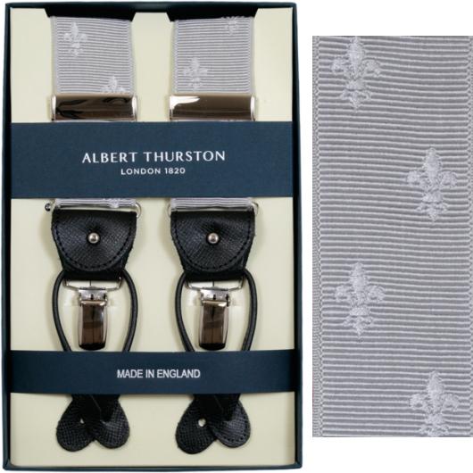 ALBERT THURSTON アルバートサーストン サスペンダー Y型 リボン(伸縮性なし) シルバー クレスト柄 サーストン ブランド アルバート・サーストン ブレイシーズ 英国製 1267-SILVER【送料無料】