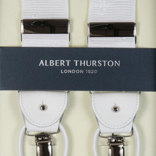 ALBERT THURSTON アルバートサーストン サスペンダー メンズ Y型 2WAY リボン(伸縮性なし) 白 クレスト柄 ホワイト 【英国製】 サーストン ブランド アルバート・サーストン ブレイシーズ 1267-WHITE【送料無料】