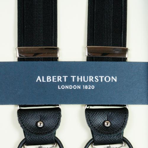 ALBERT THURSTON アルバートサーストン ブランド サスペンダー メンズ Y型 2WAY 英国製 黒 ブラックxシャドーストライプ サーストン アルバート・サーストン ブレイシーズ 2283-7 送料無料