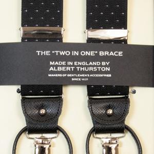 ALBERT THURSTON アルバートサーストン サスペンダー メンズ Y型 2WAY 黒 ブラック ピンドット柄 【英国製】 サーストン ブランド アルバート・サーストン ブレイシーズ 2313-10【送料無料】
