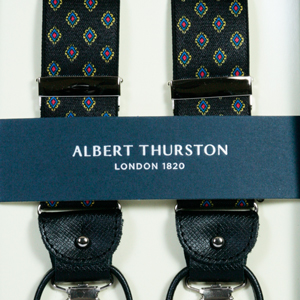 ALBERT THURSTON アルバートサーストン サスペンダー メンズ Y型 2WAY ブラック系 小紋柄 サーストン ブランド アルバート・サーストン ブレイシーズ 紳士 男性用 【英国製】2387-2【送料無料】
