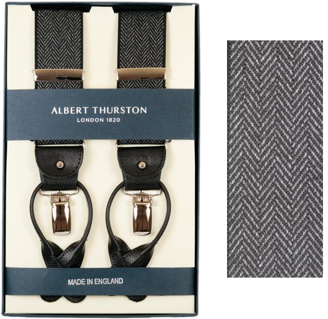 ALBERT THURSTON アルバートサーストン サスペンダー Y型 ブラック系 ヘリンボーン織柄 サーストン ブランド ブレイシーズ 英国製 2417-1【送料無料】