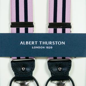 ALBERT THURSTON アルバートサーストン サスペンダー メンズ Y型 2WAY ピンク×ネイビー ストライプ 【英国製】 サーストン ブランド アルバート・サーストン 2437-D15【送料無料】