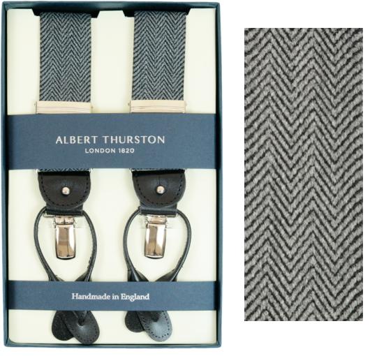 ALBERT THURSTON アルバートサーストン サスペンダー メンズ Y型 2WAY グレー モノトーン ヘリンボーン織柄【英国製】 サーストン ブランド アルバート・サーストン 2549-A01 【送料無料】